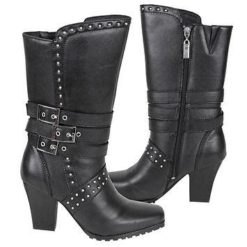 Xelement Women's Three Buckle High 13in. Biker Boots - LeatherUp.com