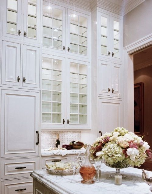 Full Ceiling Height White Kitchen Cabinets, loving the gorgeous bowl of hydrangeas too!!