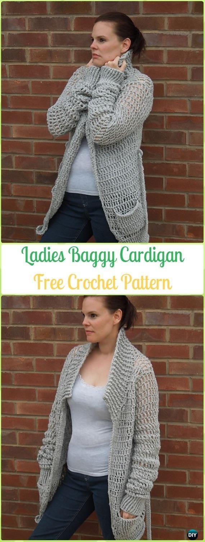 Crochet Ladies Baggy Cardigan Free Pattern - Crochet Women Sweater Coat & Cardigan Free Patterns