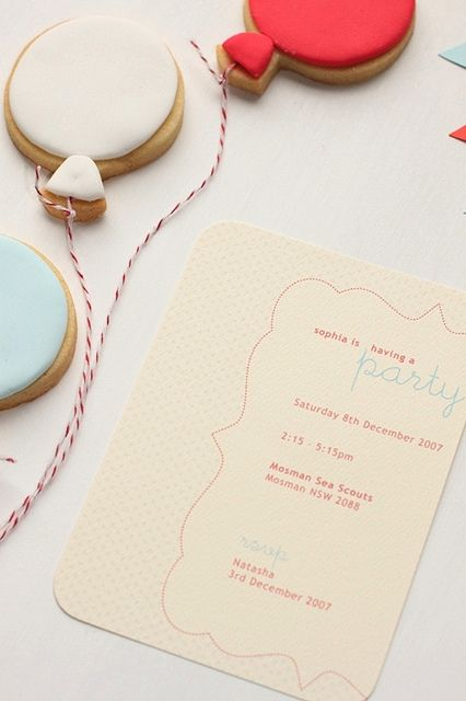 balloon cookies + party invite by hello naomi