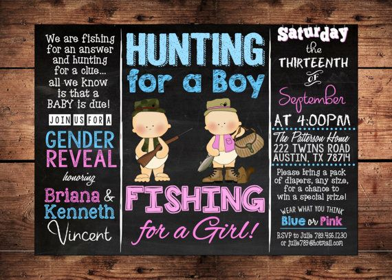 38 best reigningparties invitations images on pinterest for Fishing gender reveal