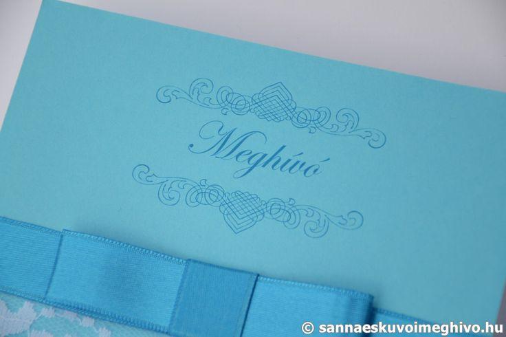 Kék medence 7 esküvői meghívó, meghívó, kék esküvői meghívó, szalagos esküvői meghívó, sannaeskuvoimeghivo, egyedi esküvői meghívó, wedding card
