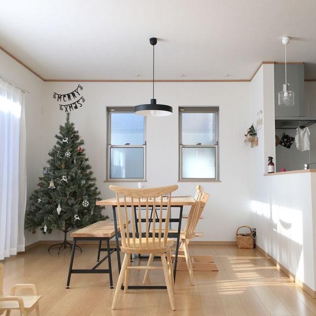 miii_yさんの、部屋全体,照明,ダイニング,リビングダイニング,一軒家,北欧インテリア,アイアン,新築,クリスマスツリー,凸ランプ,レターバナー,シンプルライフ,シンプルナチュラル,ダイニングテーブル&チェア,北欧ナチュラル,北欧好き,北欧テイスト,IGやってます,クリスマスインテリア,戸建て,こどもと暮らす。,新築一戸建て,シンプルな暮らし,ig☞miiiiiii_y,のお部屋写真