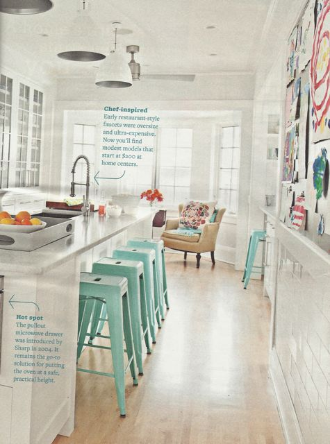the loft on broome - the loft on broome - inspiration: turquoise bar stools. These barstools will be in my next kitchen. Why do I love thee so tiffany blue?