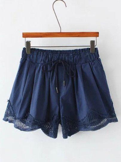 Navy Drawstring Waist Pocket Shorts