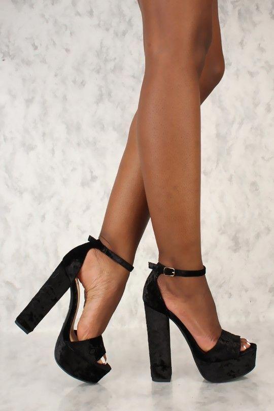 d339d65187fb Sexy Black Platform Pump Chunky High Heels Faux Velvet