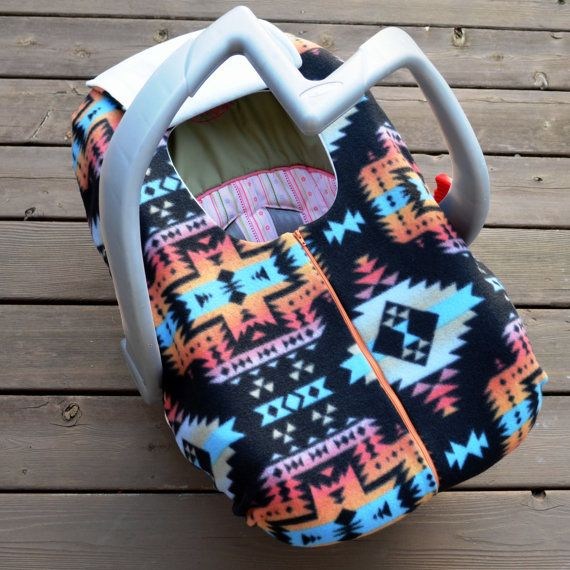 Winter Carseat Cover For Infant Car Seat Southwest Native American Inspired Fleece With Zipper