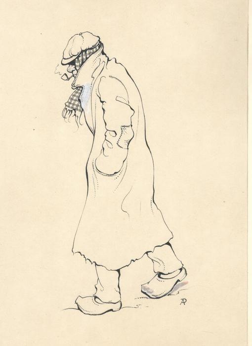 Anton Pieck - Originele tekening voor illustratie - Waar het Angelus klept - (jaren '30