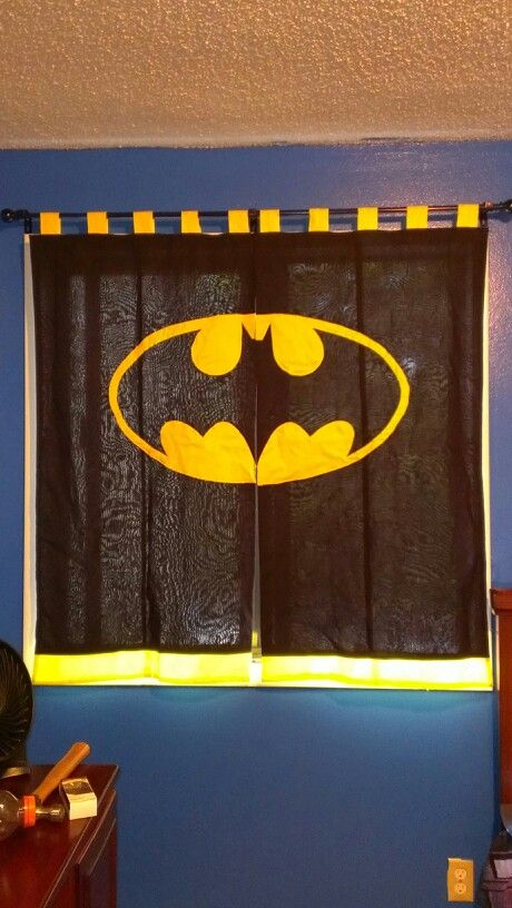 Batman curtains for my sons new big boy batman bedroom