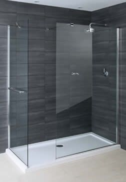 a dark tiled shower looks just fine