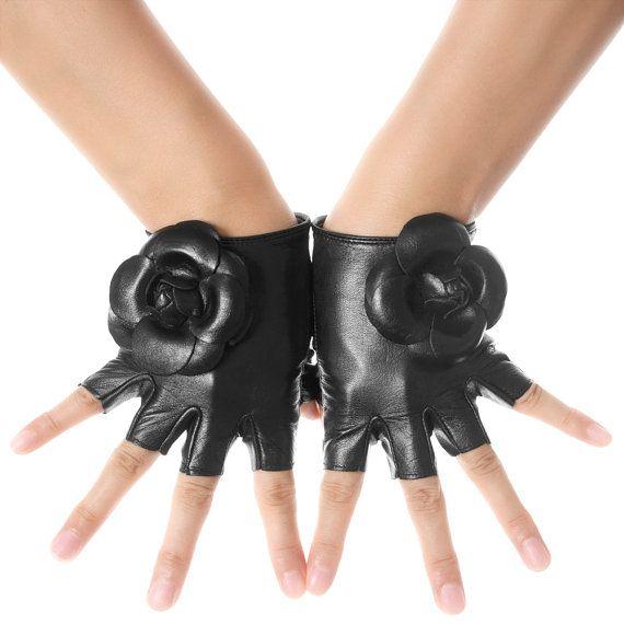 Flower Trim Fingerless Leather Gloves by LesDebutantes on Etsy, $19.99