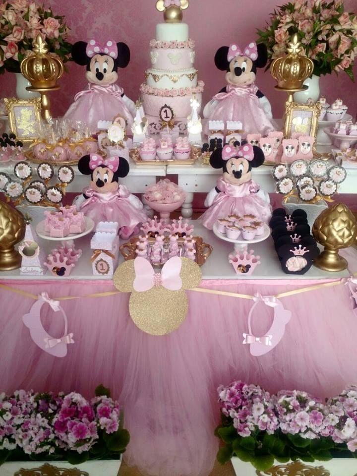 Pin De Lenilda Silva Em Minnie Rosa E Dourado Festa
