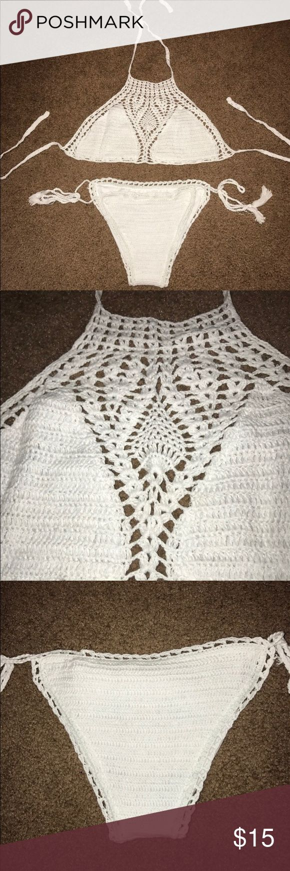 NWOT White crotchet bathing suit NEW WITHOUT TAGS!!!! Super cute set! Cheeky bottom and top has no padding! Swim Bikinis