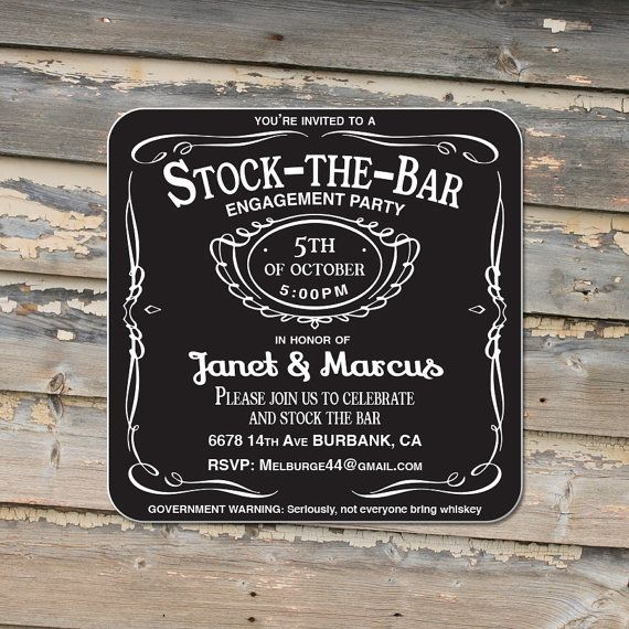 Engagement Party Stock the bar party Invitation Coasters - Craft Paper Envelopes
