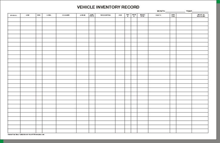 Vehicle Inventory Sheet