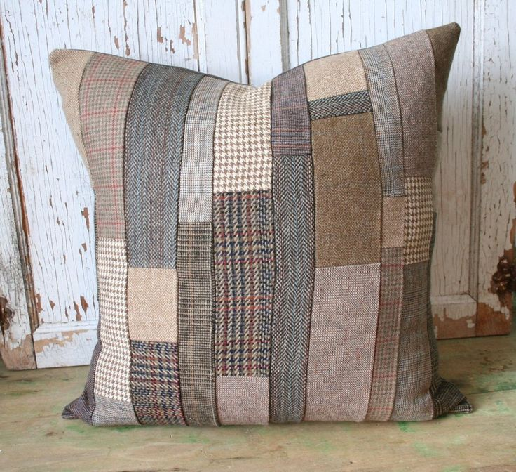 Airedale Terrier pillow cover. Adley & Company loves tweed and anything made with it! This unique tweed upcycled patchwork pillow cover is constructed from various vintage wool tweed garments. Definit