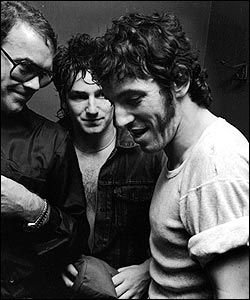 The rocker was pictured during a backstage moment with U2 frontman Bono at the group's Hammersmith Palais concert in London, 1982.