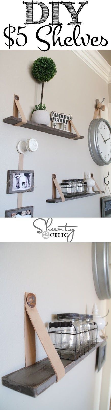 DIY $5 Shelves with Leather Straps | Home Decoration