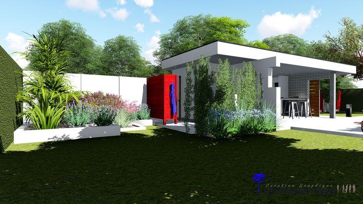Pool house contemporain avec cuisine d'été, douche, local technique et wc.