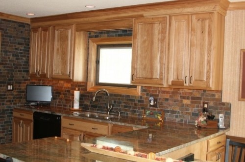 Rosewood Granite, California Mosaic Slate Backsplash: Remodel Ideas, Kitchens Photo, Cabinets Colors, Hickory Cabinets, Backsplash Ideas, Kitchens Ideas, Kitchens Backsplash, Cabinets Design, Kitchens Cabinets