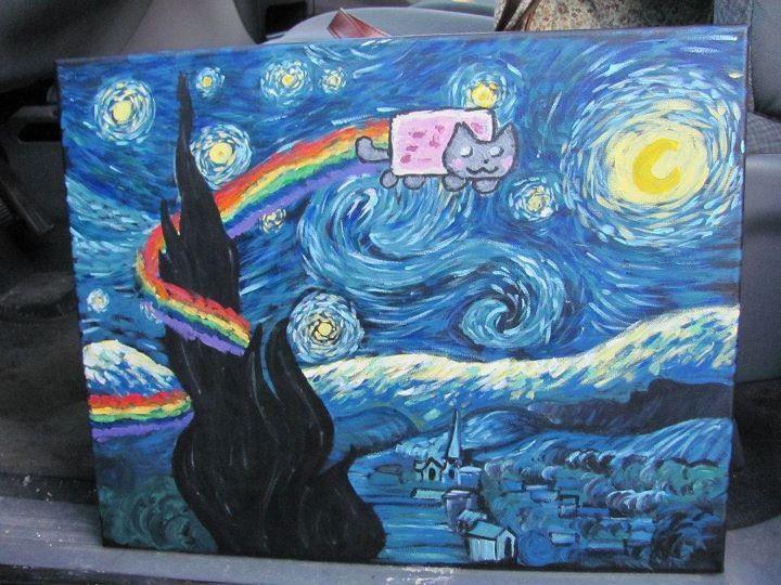 Nyan cat no quadro noite estrelada