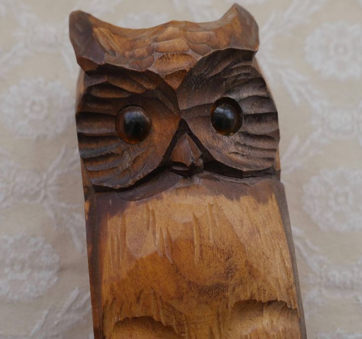 Owl Brush Holder, Hand Carved, Wood Owl, Wooden Owl, Decorative Wall Pot, Wall Decor, Owl Gifts, Owl Lover Gifts, Wood Animals, Owl Decor by RetroEtCetero on Etsy https://www.etsy.com/listing/560391852/owl-brush-holder-hand-carved-wood-owl