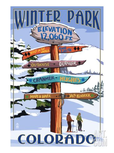 Winter Park, Colorado - Sign Destinations Print by Lantern Press at Art.com