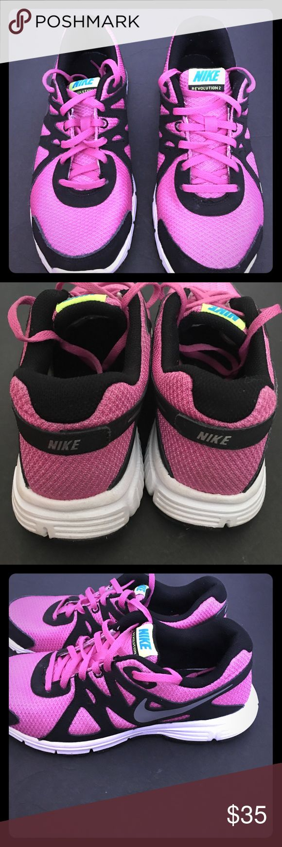 NIKE ONLY WORN ONCE ❤️ NIKE  revolution 2 Pink & Black, super cute, women's 7 , boys 5 1/2👟👟👟👟👟👟 only worn a few times still look like knew 🌸🌸🌸🌸🌸🌸🌷🌷🌷🌷🌷🌷🌸🌸🌸🌸🌸🌸 Nike Shoes Athletic Shoes