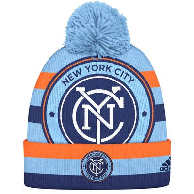 Men's New York City FC adidas Light Blue/Orange Double Logo Cuffed Knit Hat with Pom - MLSStore.com