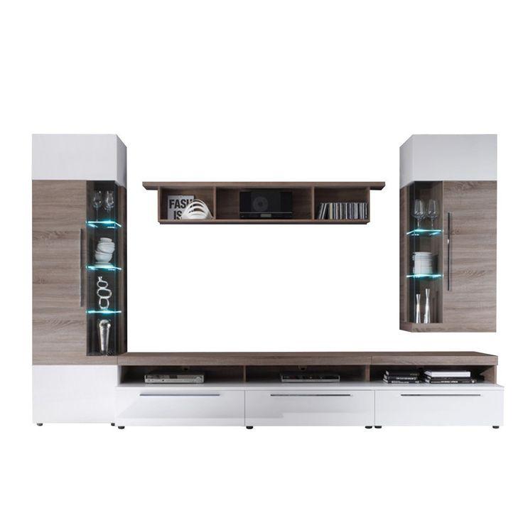 """Firstloft A0200-501-0000 Wohnwand """"Cosmos"""", Sonoma Eiche Trüffel, modernes Design, 330 x 210 x 52 cm, weiß hochglanz: Amazon.de: Küche & Haushalt"""