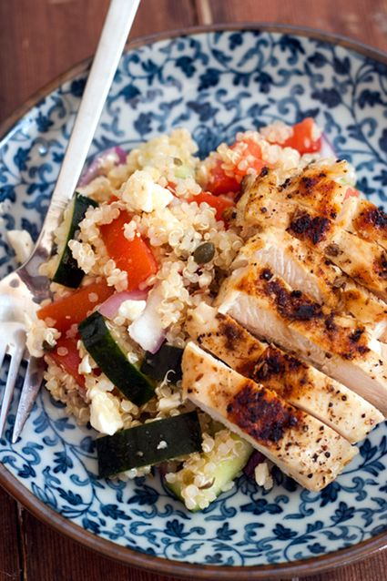 Mediterranean Quinoa Salad with Grilled Cumin Chicken