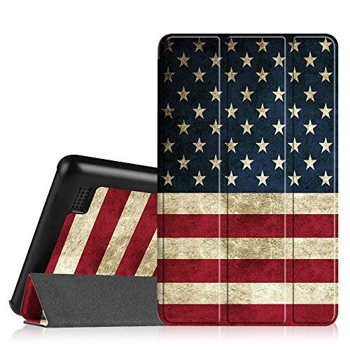 Fire Tablet Accessories  Fintie SlimShell Case for Fire 7 2015  Ultra Slim Lightweight Standing Cover for Amazon Fire 7 Tablet will only fit Fire 7 Display 5th Generation  2015 release US Flag ** This is an Amazon Associate's Pin. Detailed information can be found on Amazon website by clicking the image.