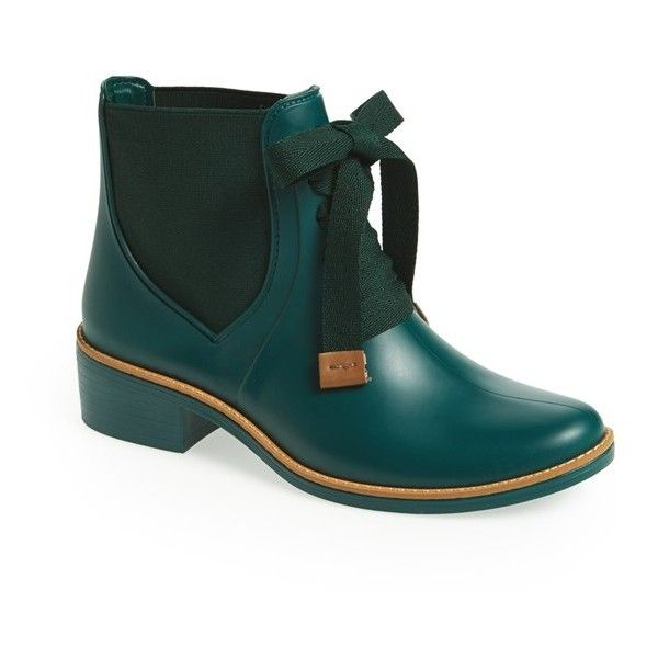 Women's Bernardo 'Lacey' Short Waterproof Rain Boot ($102) ❤ liked on Polyvore featuring shoes, boots, ankle booties, ankle boots, forest green, waterproof rain boots, waterproof booties, wellington boots, waterproof rubber boots and short ankle boots
