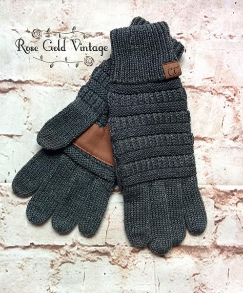 Complete your fall outfit with these awesome CC gloves! Available in the same knits as the beanies - match them to your beanie or change it up and add a pop of color! Special thread on index finger an