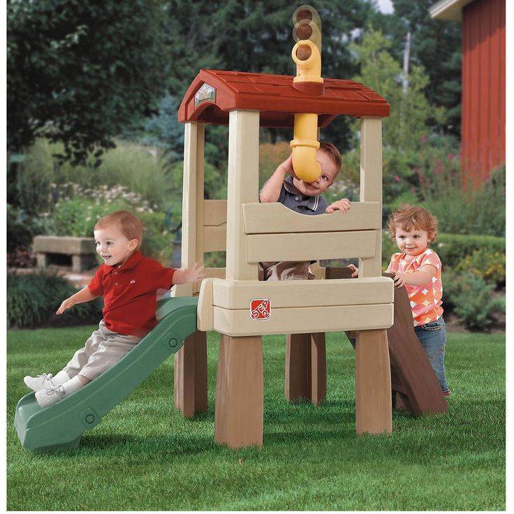 Outdoor Playsets For Kids Play Equipment Tree House Fort Slide Gym Climber Yard #Step2