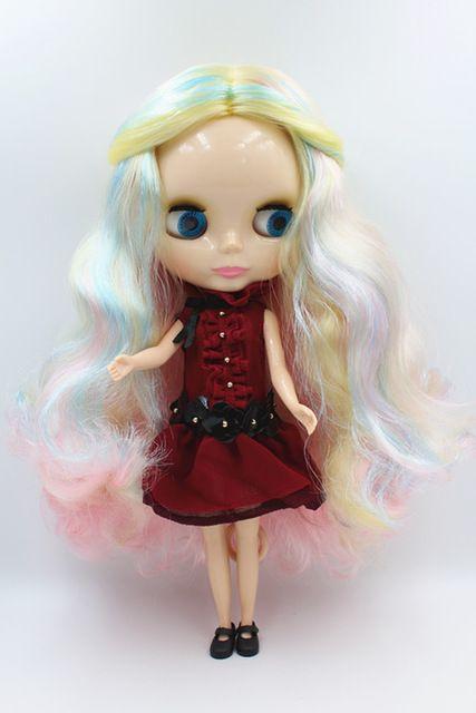 Blygirl куклы Смешанный цвет волнистые волосы, блайт куклы 30 см, 7 обычные суставов тела,