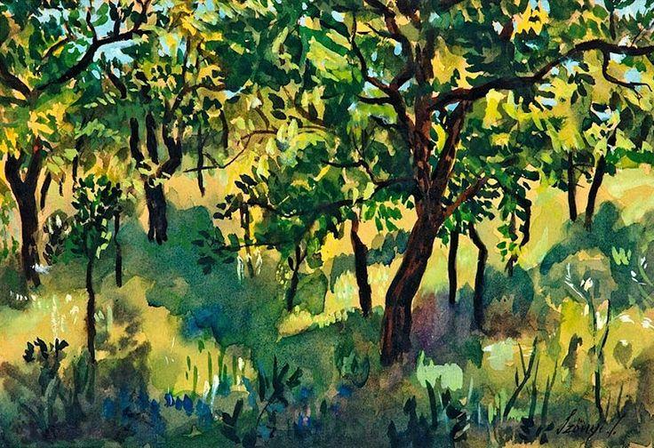 Summer Garden  -  István Szönyi,   Hungarian 1894 - 1960  watercolor on paper , 21,5 x 30 cm (8,5 x 11,8 in)