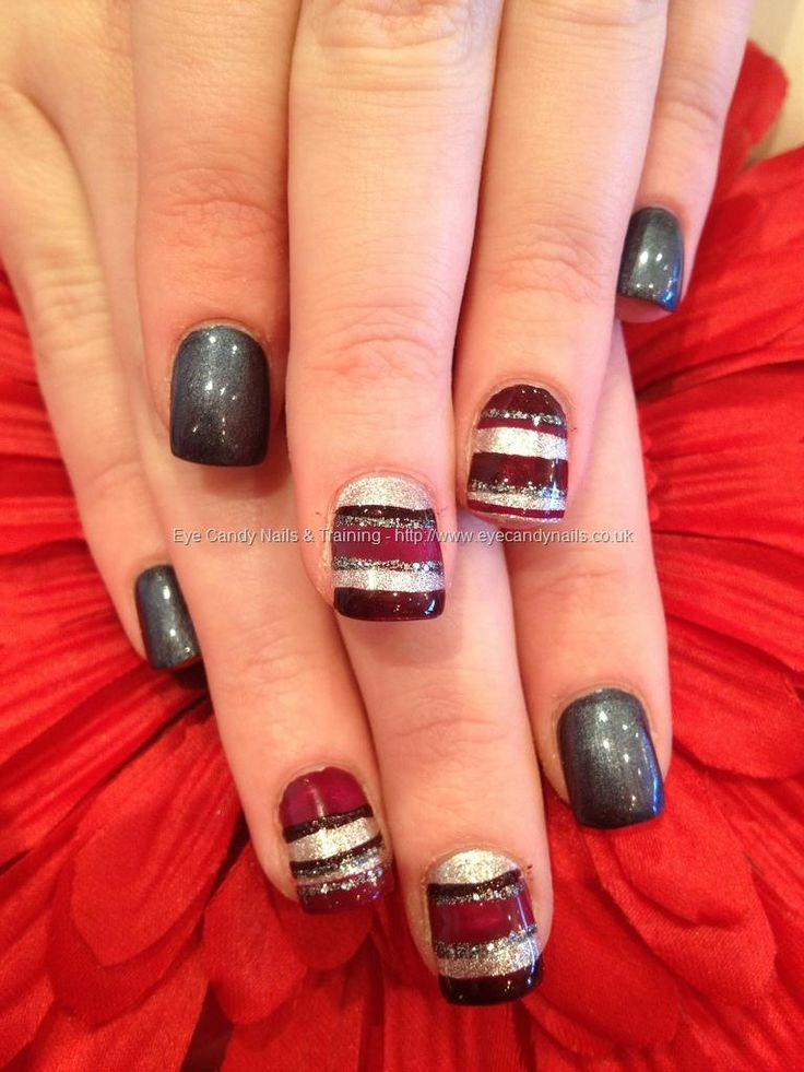 Grey Polish With Burgundy Purple And Silver Freehand Stripey Nail Art Nail Art Nails Autumn
