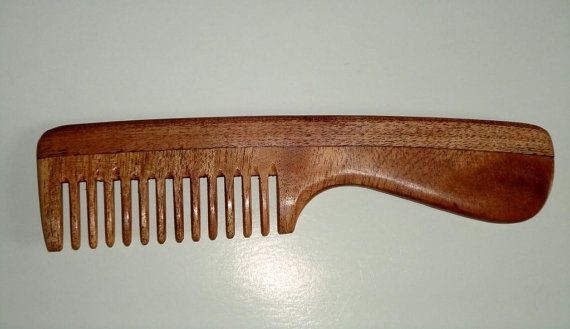 """Handcrafted Neem wood comb - dandruff control, healthy scalp & hair - 7 """" wide toothed comb with handle"""