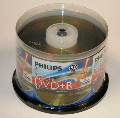 Philips LightScribe DVD+R 16X 4.7GB 50PK Spindle by Philips. $16.99. These Philips DR4L6B50F/17 DVD+R  discs hold up to 4.7GB of music, video or other data and records at speeds up to 16x.