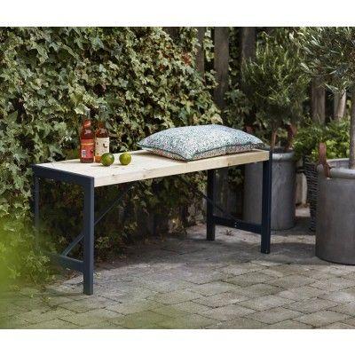 Woodinis Gartenbank FUNKIS 103x37x45 Cm Holz Metall Gestell