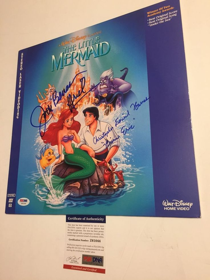 JODI BENSON & CHRISTOPHER BARNES signed DISNEY The Little Mermaid Laserdisc PSA