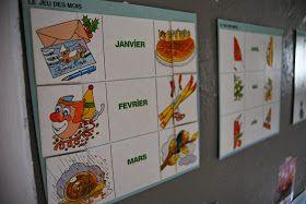 """Merci qui ? MERCI MONTESSORI !: Structurer le temps : nos outils.Il n'a rien d'un calendrier classique , il s'agit d'une grande grille mensuelle représentant chaque jour par une case, dans laquelle les enfants, à tour de rôle, viennent écrire le quantième. Le nôtre, bien plus simple, est tiré d'un vieux coffret de jeux Nathan (""""Découvrir l'heure et le temps"""", les jeux du coquelicot), déniché en vide-grenier."""