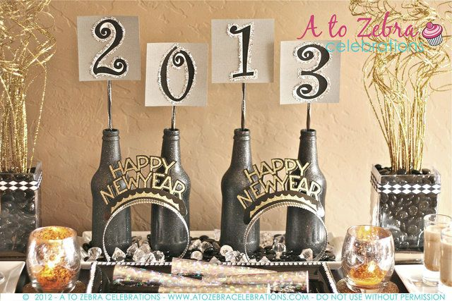 New year 39 s party ideas initials bottle and mantles for 15 years party decoration