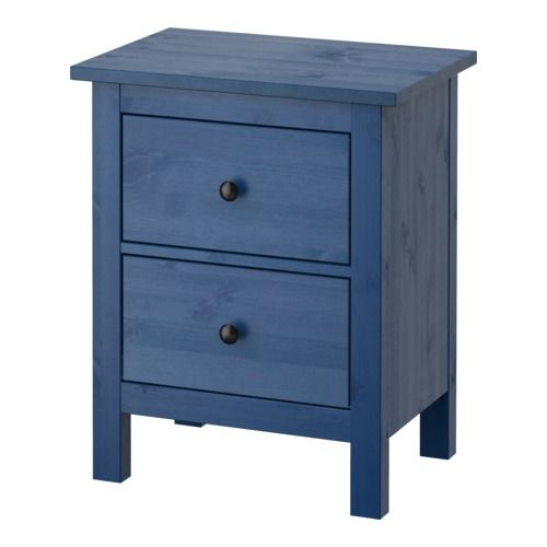 HEMNES Kommode mit 2 Schubladen - blau, 54x66 cm - IKEA