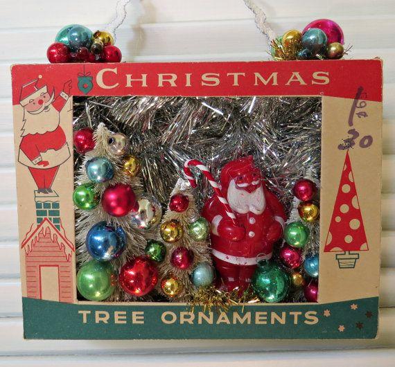Vintage Ornament Box with Santa Christmas Wall by dimestorechic