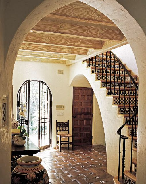 Mexican Hacienda The Heavy Mission Style Door, Spanish Tile Floors And  Staircase, Exposed Beams Arched Doorways, I Love It All!
