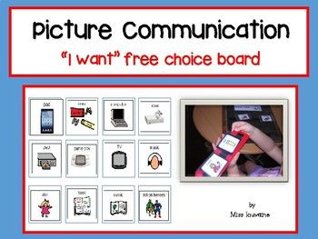 """Picture Communication - Choice Board """"I want"""" An important freebie for any Communication/Autism classroom. My students find these really useful in class, they are able to exchange a symbol for pacific items.. This package includes Pink choice board blue choice board black and white choice board"""