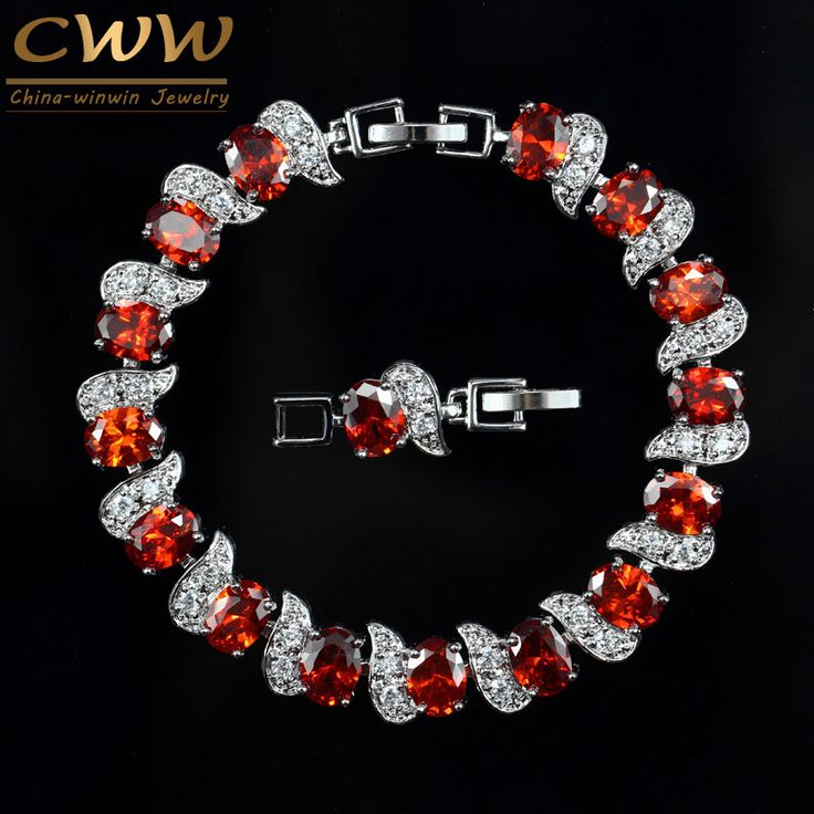 Exquisite CWW Brand Design Ladies Jewelry White Gold Palted Created Ruby Red Crystal Women Bracelet With Cubic Zircons CB177
