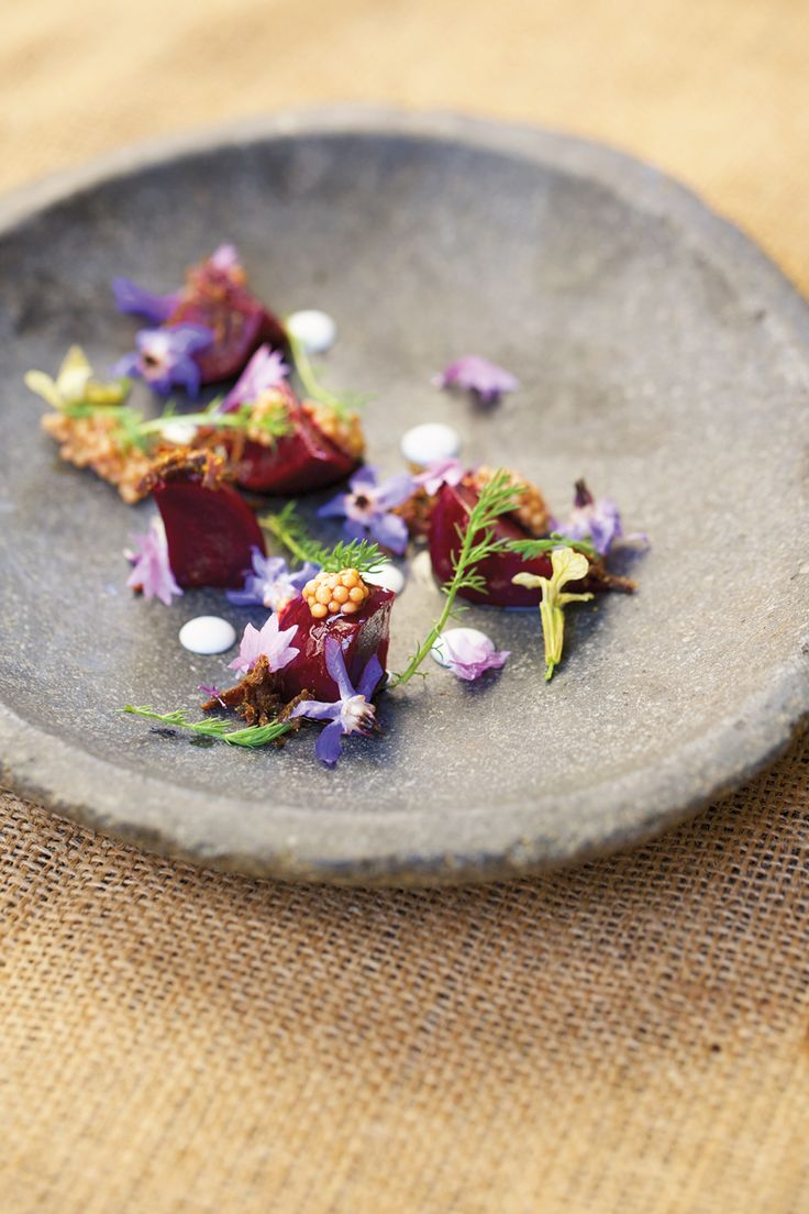 Roasted Baby Beets With Pickled Mustard Seeds & Vadouvan recipe - Rachel Weill  | Food Arts #plating #presentation